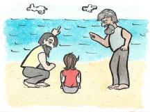 Fishermen came and talked to him, insisting that they had heard the bells. But the boy never did. • • • Alcuni pescatori andavano a parlare con lui, e insistevano. 'Noi le abbiamo sentite!' dicevano. Ma il ragazzino continuava a non sentirle.